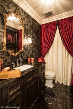 Gorgeous Red And Black Bathroom Set Ideas