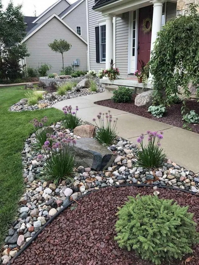 Beautiful Rock Garden Ideas For Front Of House Ideas