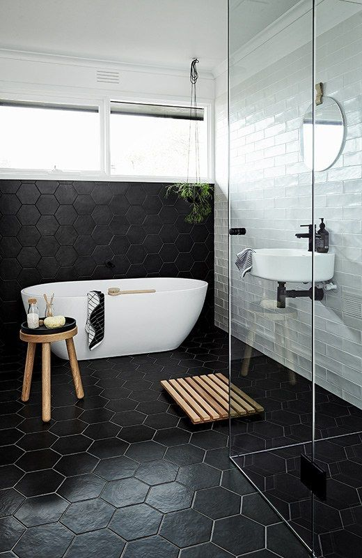 Amazing Black Hexagon Tile Bathroom Ideas