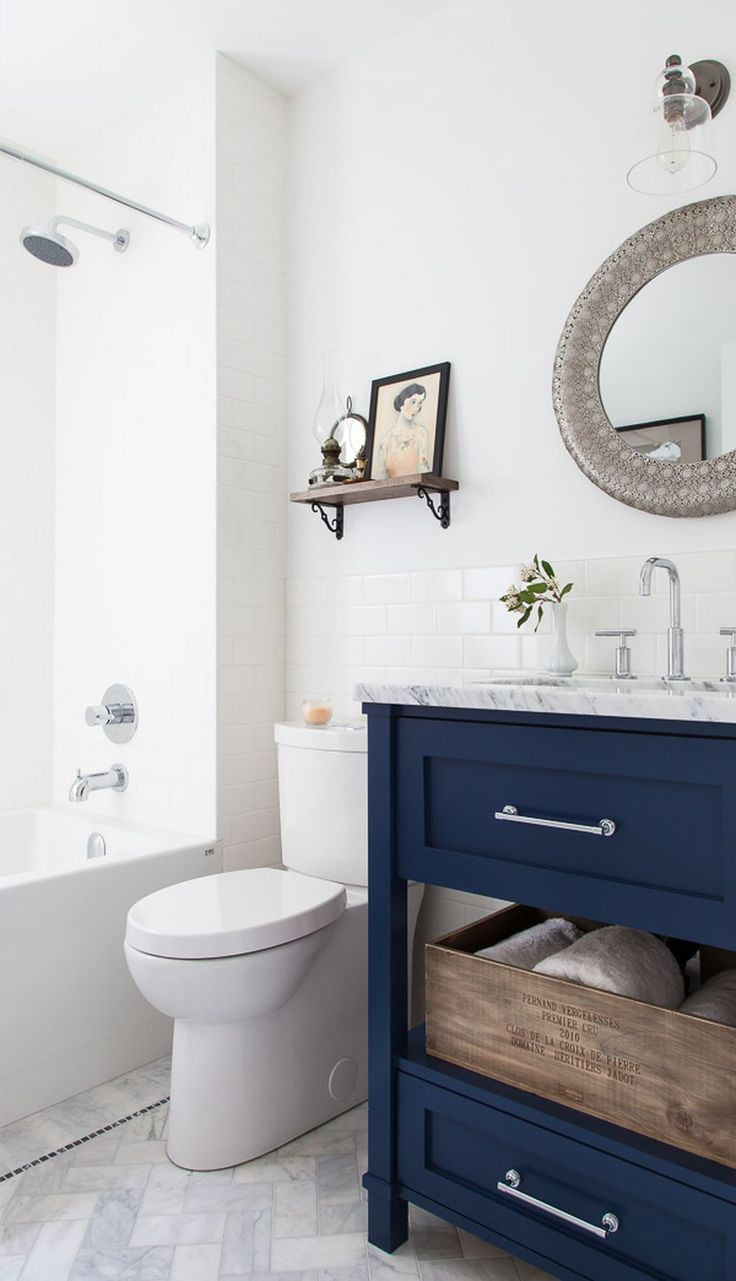 Inspiring Navy Blue Bathroom Vanity Ideas
