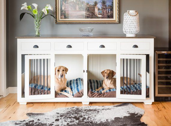 Affordable Double Dog Crate Furniture Ideas