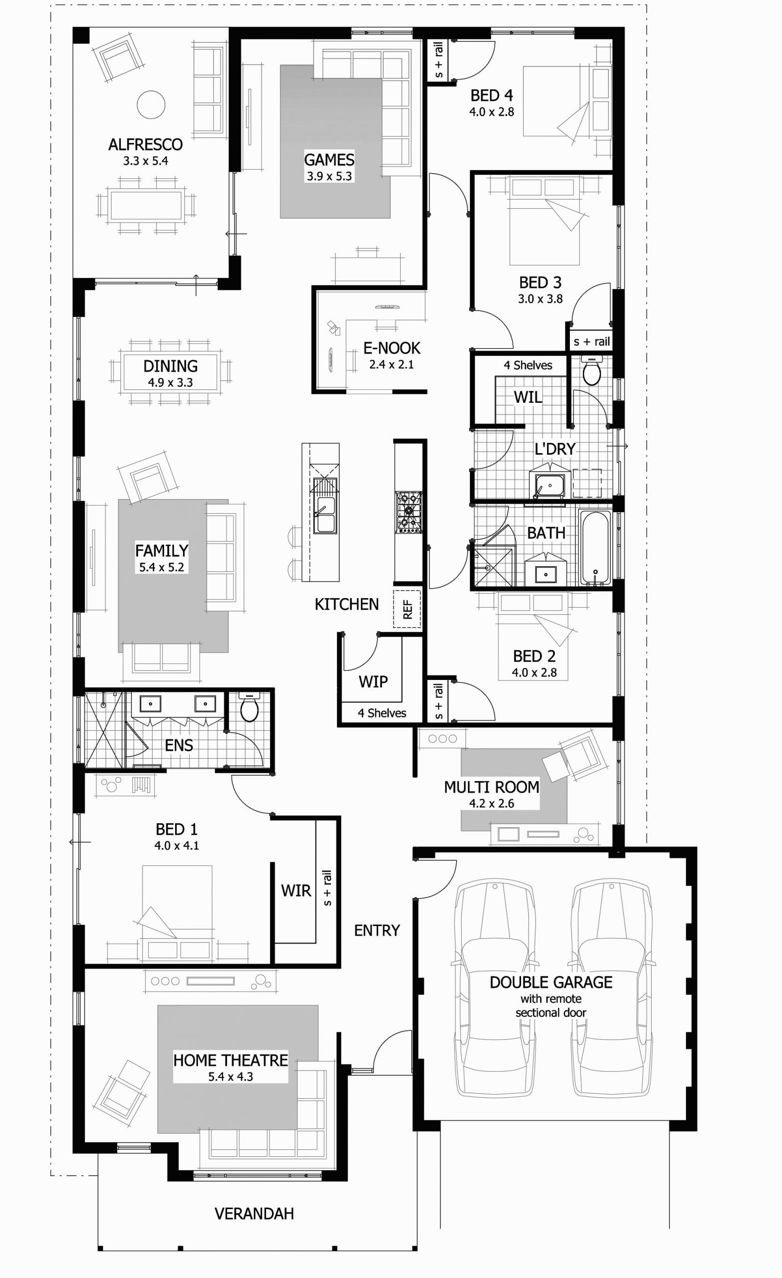 Beautiful One Story 4 Bedroom House Plan Ideas